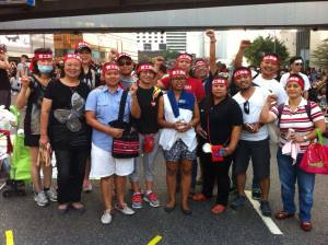 Filipino migrants in solidarity with HK workers at the protests
